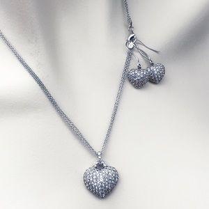 Ice Diamond Triple Chain Necklace & Earrings